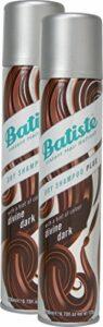 Batiste Shampoing Sec Dry Shampooing Divine Dark avec une touche de couleur pour les cheveux noir et brun foncé, Cheveux frais pour tous types de cheveux, lot de 2 (2 x 200 ml)