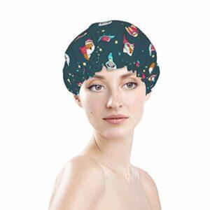 Bonnet de bain élastique souple et imperméable pour les cheveux – Motif astronaute de l'espace, paresseux et renard