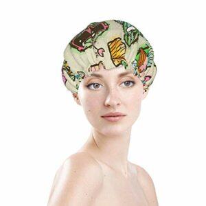 Bonnet de bain étanche avec motif de cactus mignon et amusant en lunettes