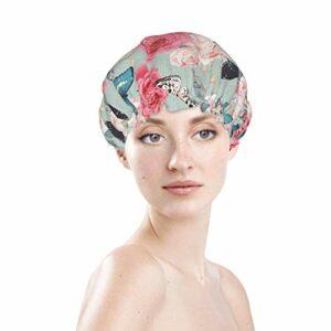 Butter-Fly Cat Bonnet de bain élastique souple et imperméable pour cheveux