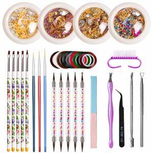 DaMohony Lot de 14 décorations pour ongles avec pinceau, stylo, lime, pince à épiler, poussoir pour un usage domestique et professionnel