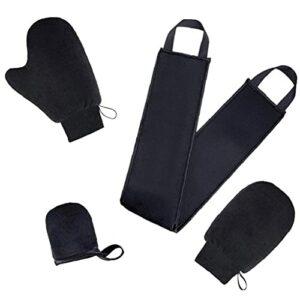 EElabper Autobronzant Mitt Applicateur Kit crème Lotion Smudge Outil Gants de Nettoyage du Corps Noir 4PCS