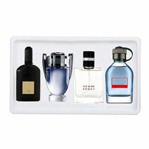 Ensemble Eau de Toilette pour hommes, 25 ml x 4 pièces Portable Parfum Homme Cologne Ensemble de Parfum Parfum Longue Durée Cadeau pour Mari Père Petit Ami
