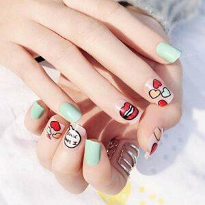 HQQPA Faux Ongles 24 pièces mignon amant coeur rouge lèvre décoration bleu blanc court carré presse sur couverture complète faux ongles pour filles bricolage