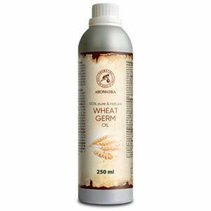 Huile de Germe de Blé 250ml – Triticum Vulgare Germ Oil – USA – 100% Pur et Naturelle – Huile de Base – Revitalisant Propriétés – Nourrissant – Soins Intensifs Visage – Corps – Cheveux- Peau