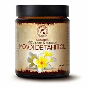Huile de Monoï de Tahiti 100ml – France – 100% Pure et Naturelle – Huile pour le Corps – Riche en Vitamines – Nourrissant – Soins Intensifs Visage – Corps – Cheveux – Lèvres – Bouteille en Verre