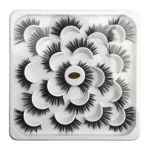 IYU_Dsgirh Faux Cils Magnétique, 10 paires de faux visages en plaque de lotus 5D (NOIR)