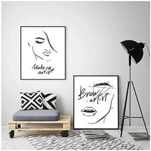 LIUYUEKAI Mode Maquillage Sourcils lèvres Cils Image imprimée sur Toile Mur Art Affiche pour Belle Boutique décoration-40x50cmx2 sans Cadre