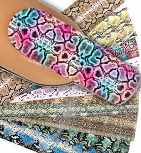 Lot de 10 films pour nail art #27 Peau de serpent 10 films de 20 x 4 cm chacun