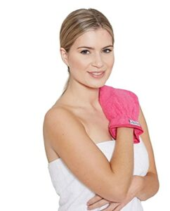 Lot de 5 gants de toilette pour le visage – Extra doux – 100 % coton peigné – 500 g/m² – Réutilisables – Démaquillant – Rose vif