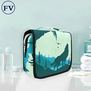 Loup Noir Trousse de Toilette à Suspendre Rangement MaquillageSac Voyage Portable Pliable Salle de Bain Trousse de Cosmétique pour Femmes Filles