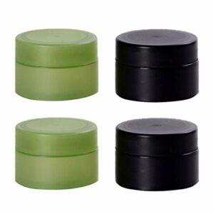 Lurrose 4Pcs Pots D'échantillon Cosmétiques avec Couvercle pour Gommages Huiles Toniques Salves Crèmes Lotions Échantillons de Maquillage Baumes à Lèvres (Vert Noir Chacun Deux)