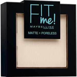 Maybelline New-York – Poudre Compacte Fit Me Matte & Poreless – Peaux normales à grasses – 100 Ivoire Doré – 9 g