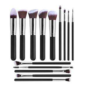 MIAOMIAO 14pcs / Set Maquillage Brosses Fête Synthétique Hair Fit pour Fondation Powder Powder Bey Shadows Eyebrow Lashes Soins de beauté Service (Handle Color : Siliver)
