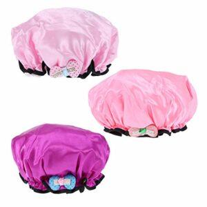 Minkissy 3pcs enfants multicolores bonnets de douche imperméables à l'eau de bande dessinée bande de douche chapeaux double couche bonnets de bain (lumière rouge rose et violet)