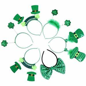 Minkissy 6 Pièces St. Patricks Day Bandeau Shamrock Trèfle Bande de Cheveux Tête Boppers Cerceaux de Cheveux Verts Accessoires de Photomaton Irlandais pour Enfants Accessoires de Costume