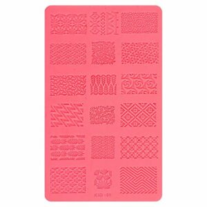 Minkissy Silicone Ongles Estampage Plaque Silicone Nail Art Moule Nail Stamp Stamping Nail Modèle Manucure Nail Ongle Art Moule Rouge