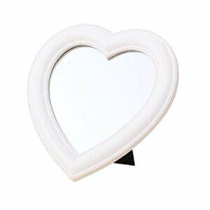 Miroir de maquillage miroir grossissant Bureau miroir en forme de coeur miroir de maquillage pour les femmes Ladies White Girls Soin du corps