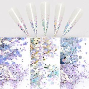 N-A 6 Boîtes Paillettes À Ongles Holographique Sparkly Holo Flakes DIY 3D Nail Art Décorations Nail Supplies Visage Maquillage des Yeux Bijoux