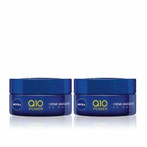 NIVEA Q10 Power Crème-Masque de Nuit (2 x 50 ml), crème anti-âge enrichie en Q10 et en créatine, crème hydratante cou & décolleté, soin visage femme nourrissant