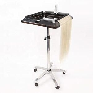 Plateau de coiffure Chariot de salon de coiffure professionnel avec support pour perruque, 5 roues et hauteur réglable ABS Barber Esthéticienne Beauté Chariot de rangement pour outils de coiffeur