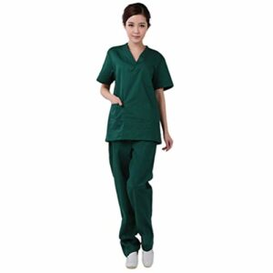 PRETYZOOM Docteur Infirmière Gommage Ensemble V Cou Haut Pantalon Deux Pièces Hôpital Costume Clinique Uniforme (Taille Xxl Vert Foncé)