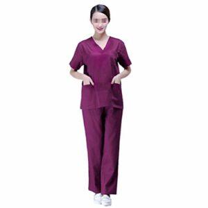 PRETYZOOM Ensembles de Gommage pour Femmes Tops Et Pantalons de Gommage Médicaux Uniformes de Gommage Médicaux pour Hôpital Violet Taille Xxl