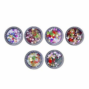 SOLUSTRE 6 Boîtes de Décorations D'ongles de Noël Arbre de Noël Et Breloques de Bonhomme de Neige Nail Art Coloré Perle Diamant Artificiel Dégradé Bijoux Bricolage 3D Nail Art Décoration