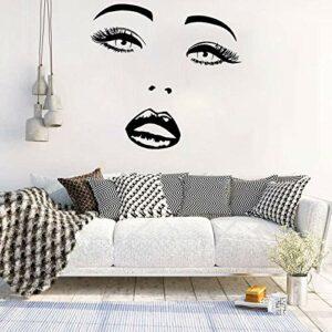 Sticker mural de cils Beauté Salon Fenêtre Vinyle Decal Decal Filles Chambre Decor Sourcils Beaux lèvres Cils mural Sweols-22 noir_28x29cm