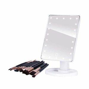 TYWZJ Ensemble de pinceaux de Maquillage, miroirs de Maquillage éclairés Professionnels à LED avec lumière LED réglable 16 22 Écran Tactile pour Brosse à Cils de beauté Fédération de Russie 16LED
