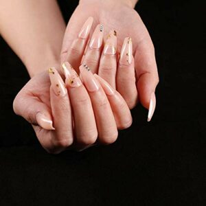 24 pcs Couleur De La Peau Or Ballet Faux Ongles Appuyez sur Trapèze Coloré Diamant Style Long Ornements Portables Ongles De Manucure