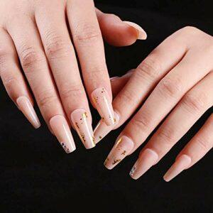 24 pièces couleur de la peau or brillant couleur unie ballet faux ongles trapèze coloré diamant style long ornements portables manucure faux ongles