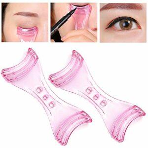 2pcs cartes d'assistant eyeliner en plastique rose formes eye-liner gabarits gabarits guide gabarits supérieur sous doublure maquillage outils de l'aide pour débutants maquillage