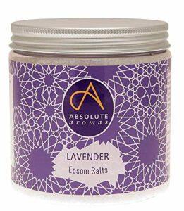 Absolute Aromas Sels de Bain Epsom Lavender 575g – Sulfate de Magnésium Infusé d'Huile Essentielle de Lavande Française pure à 100% – Sels relaxants pour le bain