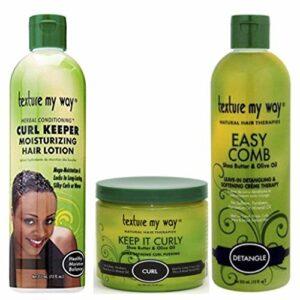 Africa's Best Organics – Lot de 3 soins Texture My Way – cheveux bouclés – lotion Curl Keeper 355 ml/pudding Keep it Curly 450 ml/crème adoucissante et démêlante sans rinçage Easy Comb 355 ml
