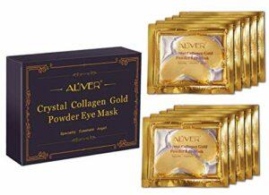 ALIVER Cristal 24K Or Poudre Gel Collagène Masque pour les yeux Doré œil Mask10 paires/paquet