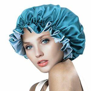 Bonnet de Bain Femme avec Cordon élastique, Bonnet de Sommeil Double Couche pour Femme, Bonnet de Maquillage Réutilisable