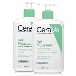 CeraVe Gel Moussant | 2 x 473ml | Gel Nettoyant Visage Purifiant à l'Acide Hyaluronique et au Niacinamide pour Peau Normale, Peau Grasse et Sujette aux problèmes d'Acné