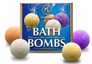 Coffret Bombes de Bain 4x115g – Bombes de Bain Moussant avec Huiles Essentielles Naturelles – Kit de Bombes de Bain Multicolores Orange, Cannelle, Lavande, Rose – Cadeau pour Beauté Femme