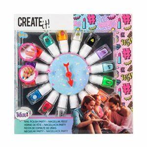 CREATE IT – Palette de 16 vernis à ongles fluo – pour enfant fille – 84167