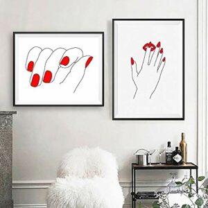 Dessin Art Fille Ongles Rouges Ligne Toile Peinture Main Manucure Mur Art Affiche Imprime Salon De Beauté Mur DéCor Cuadros-30x50cmx2 Sans Cadre