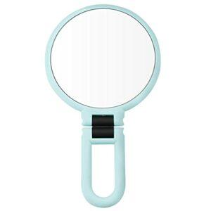 Double face miroir de maquillage 10x Loupe Poignée Suspendu Miroir autoportant pivotant Miroir grossissant Miroir rond portable double face Miroir de maquillage avec support vert