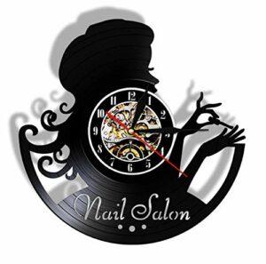 Éclairage LED 7 Couleurs Gravure Creuse Disque Vinyle Horloge Murale beauté Nail Salon manucure Montre Suspendue idée Cadeau pour manucure Salon de beauté 30 cm / 12 Pouces