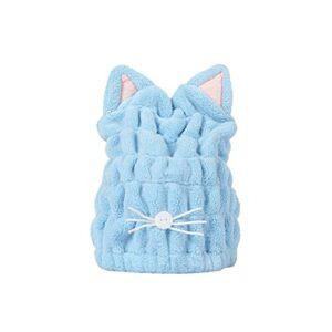 FRCOLOR Serviette de Bain Chapeau Doux Absorbant Serviette De Wrap Chat Serviette De Wrap pour Femmes Adultes Ou Enfants Filles (Ciel Bleu)