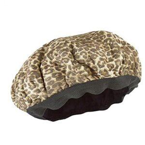 fregthf Heat Cap Cheveux secs Cap Plastique Bain Cap Flaxseed Conditionnement Profond pour texturés Soins des Cheveux séchage Styling Curling Leopard