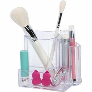 Groovi Beauty – The Artist – Pinceaux de maquillage, mélangeurs et porte-crayons (3 compartiments) – Rangement cosmétique pour salle de bain, évier, bureau