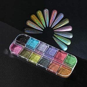 JEONSWOD Ongles Scintillants holographiques chromés Chrome Miroir Miroir Miroir Pigment Pigment Climat manucure décoration de la poussière réfléchissante