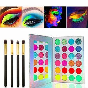 Kalolary Palette de fards à paupières Neon Luminous, UV Glow Blacklight Matte et Sparkling Eyeshadow Glows In The Dark, Kit de maquillage 24 couleurs hautement pigmenté avec 4 pinceaux noirs
