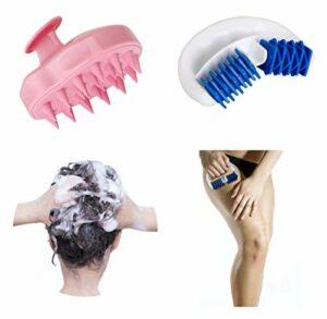 Lunata Brosse de massage pour cuir chevelu + Rouleau de massage anti-cellulite contre la peau d'orange, rouleau de massage pour raffermir la peau, brosse de massage, gant de massage