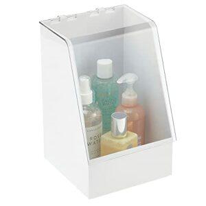 mDesign boîte de rangement avec couvercle – petit rangement salle de bain en plastique pour cosmétiques ou maquillage – organiseur maquillage pour fards, mascara, vernis, etc. – blanc/transparent